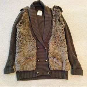 ZARA Military Style Knit Faux Fur Cardigan Sweater